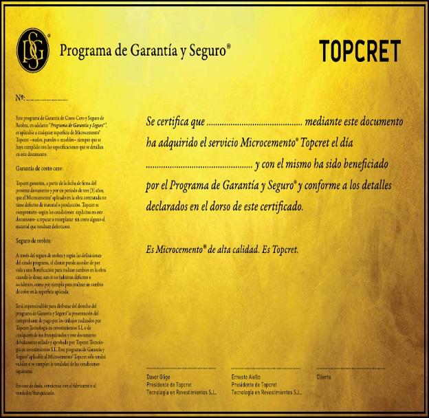 certificado garantía microcemento